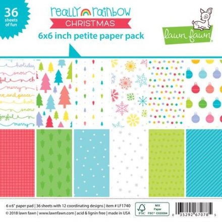 LF1740 ~ REALLY RAINBOW CHRISTMAS ~ 6X6 PAPER PACK BY LAWN FAWN